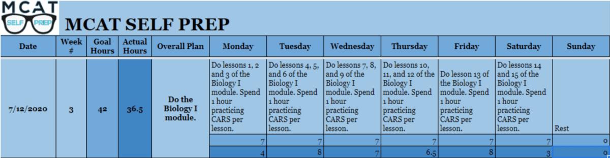mcat self prep study plan